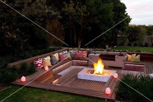 Bildergebnis Für Feuerstelle Auf Holzterrasse