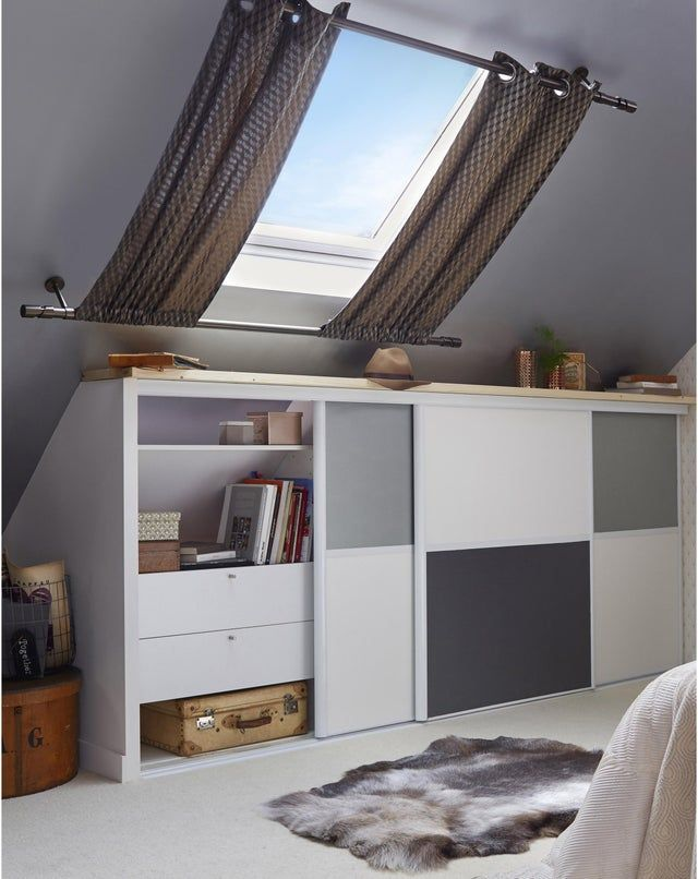 Caisson Sous Pente Spaceo Home Blanc H 100 X L 80 X P 60 Cm Nowoczesne Sypialnie Wnetrza I Projektowanie Wnetrz