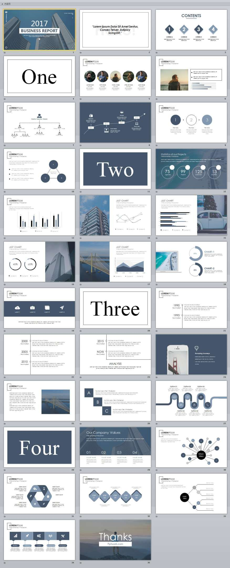 35  slide white magazine style powerpoint templates