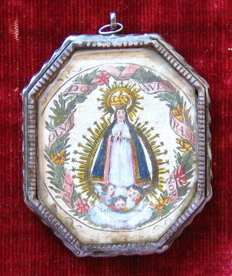 Medallón-relicario con la Virgen del Olvido, h. 1790. Marco de ...