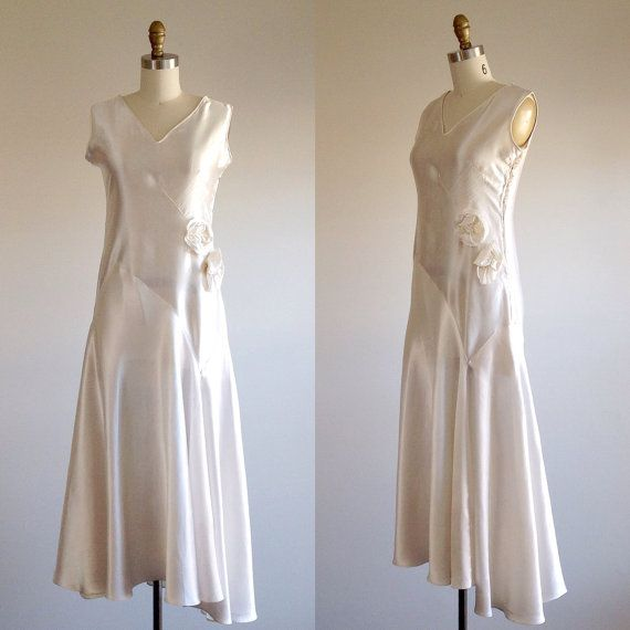 Satin wedding dress- Simple wedding dress-1930s wedding dress- Art ...