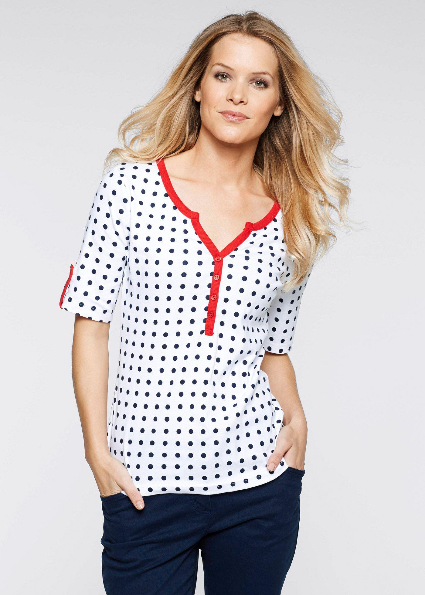 e366363537 Blusa estampada manga 3 4 azul escuro morango branco bolinhas - Moda  Feminina - bonprix.de Mais