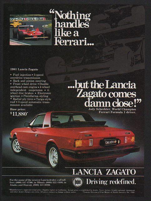 1981 Red LANCIA ZAGATO Sports Car FERRARI VS. LANCIA VINTAGE AD - As a former owner, I challenge that!!!!