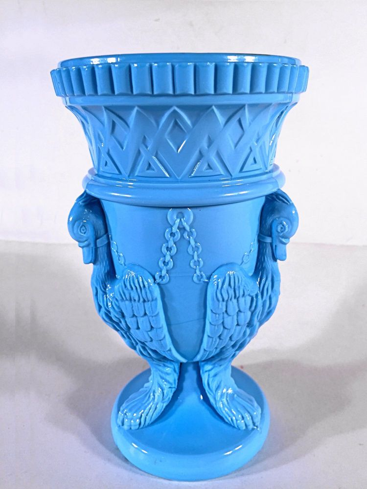 Edward Moore Glassworks Blue Milk Glass Chained Griffin Swan Vase