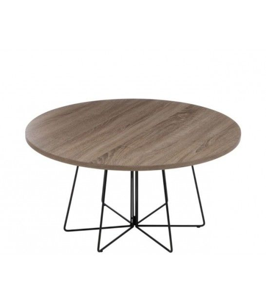 Set De 2 Tables Basses Gigognes En Bois Et Métal Noir Design Table