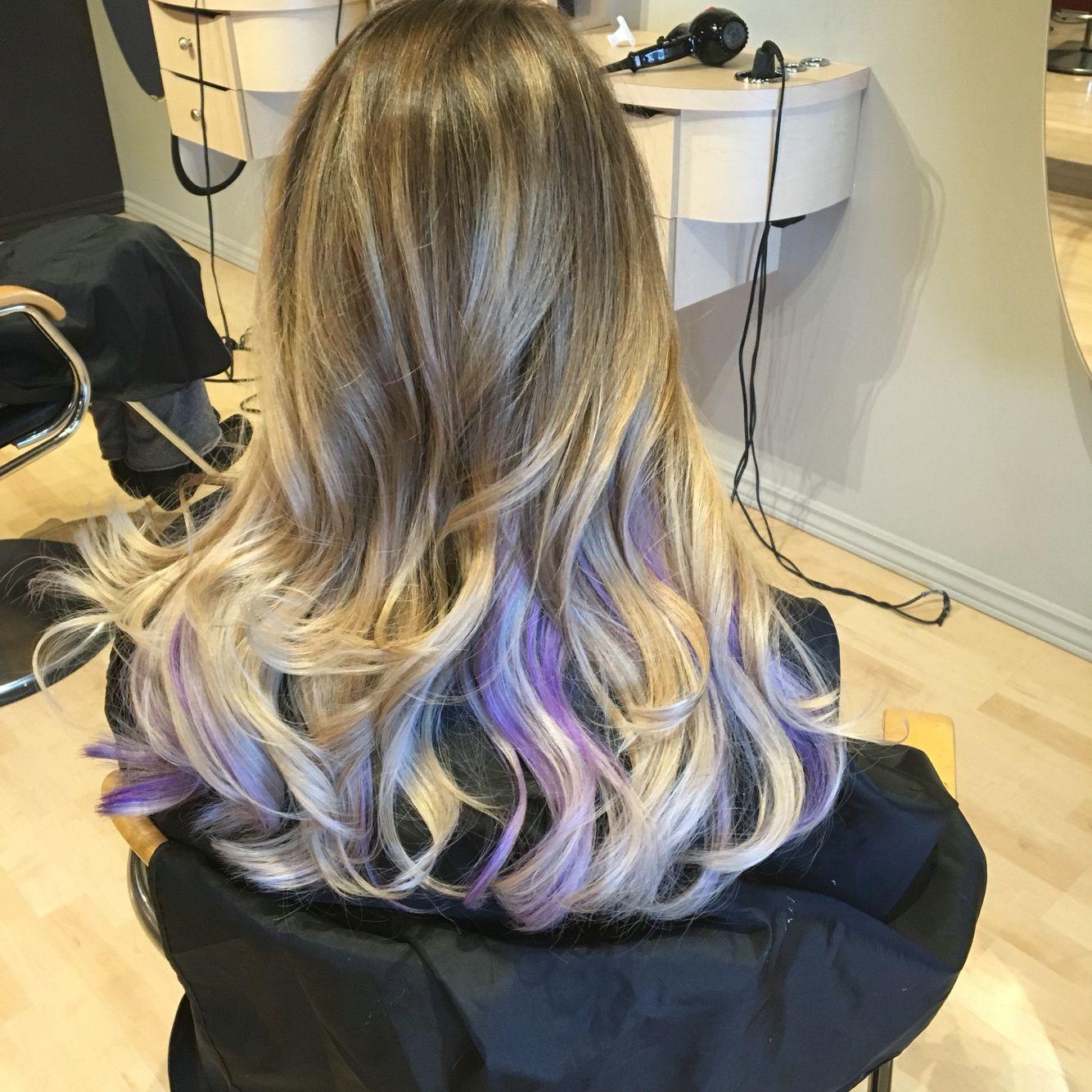 Blonde Highlights With Purple Peekaboos Hairbysamanthahooper Purple Hair Highlights Dramatic Hair Colors Purple Peekaboo Highlights