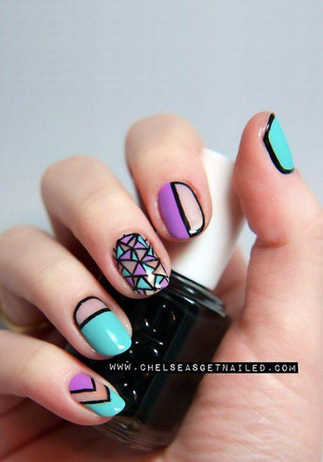 Nail art multicolor | diseños uñas | Pinterest | Manicure, Art nails ...