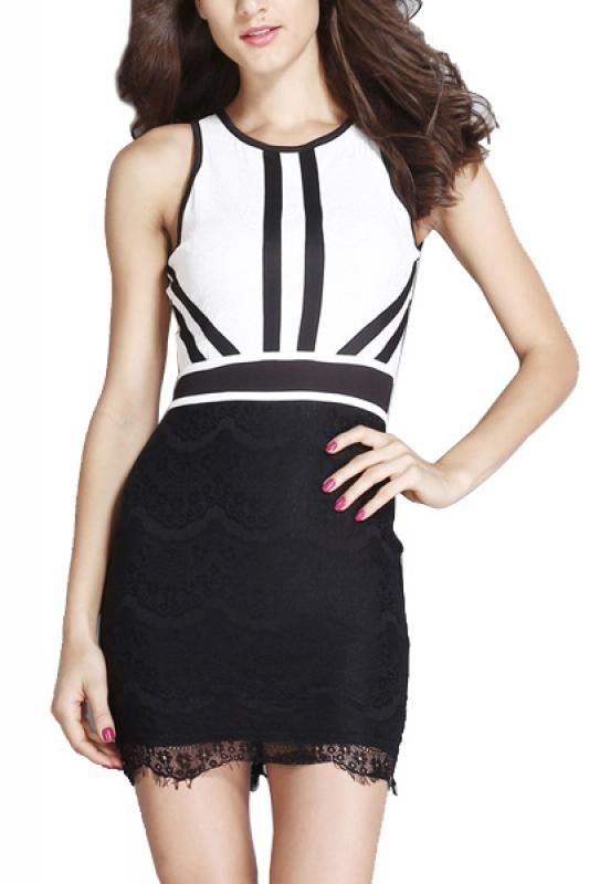 Contrast Color Round Neck Sleeveless Bodycon Dress