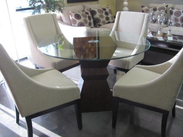 "round glass table wood base 47"" $298"