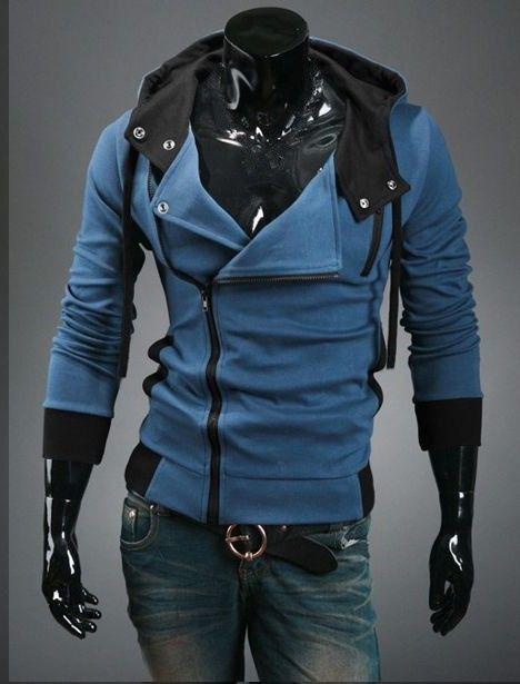 Double Layered Incline Zipper Hoodie - Denim Blue