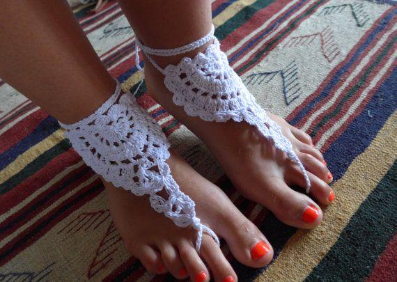 White Crochet Foot Piece Barefoot Sandals