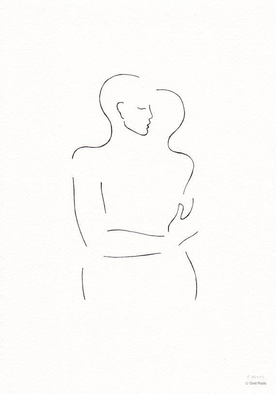 Dessin Original De Deux Figures De Baisers Non Encadree Taille 8 3 X 11 7 21x29 7 Cm A4 Page Orientation P Writing Art Illustration Original Drawing