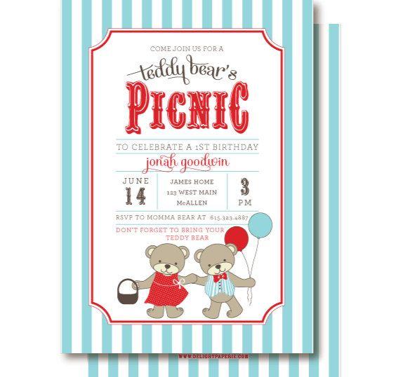 Teddy Bear Picnic Invitations Teddy BearS Birthday Invitation