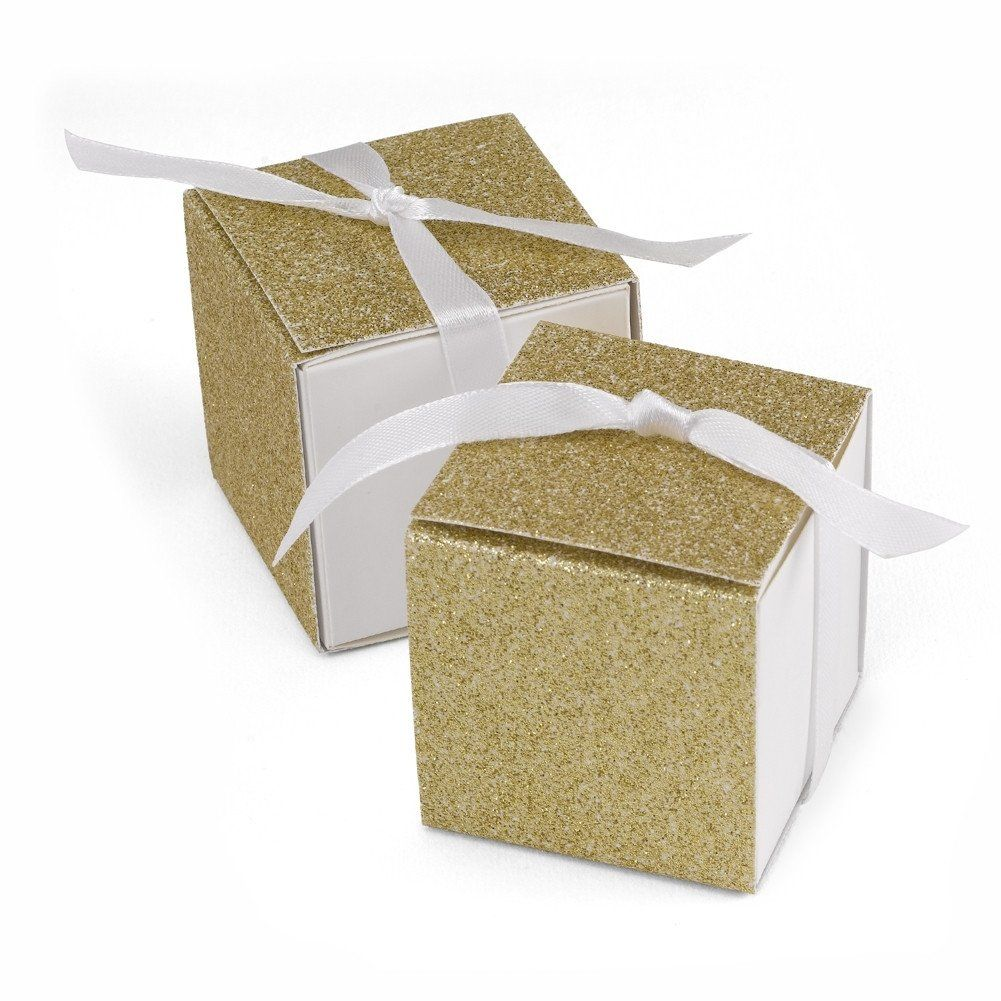 Glitter Wrap Favor Boxes - Gold - 2in. X 2in. X 2in