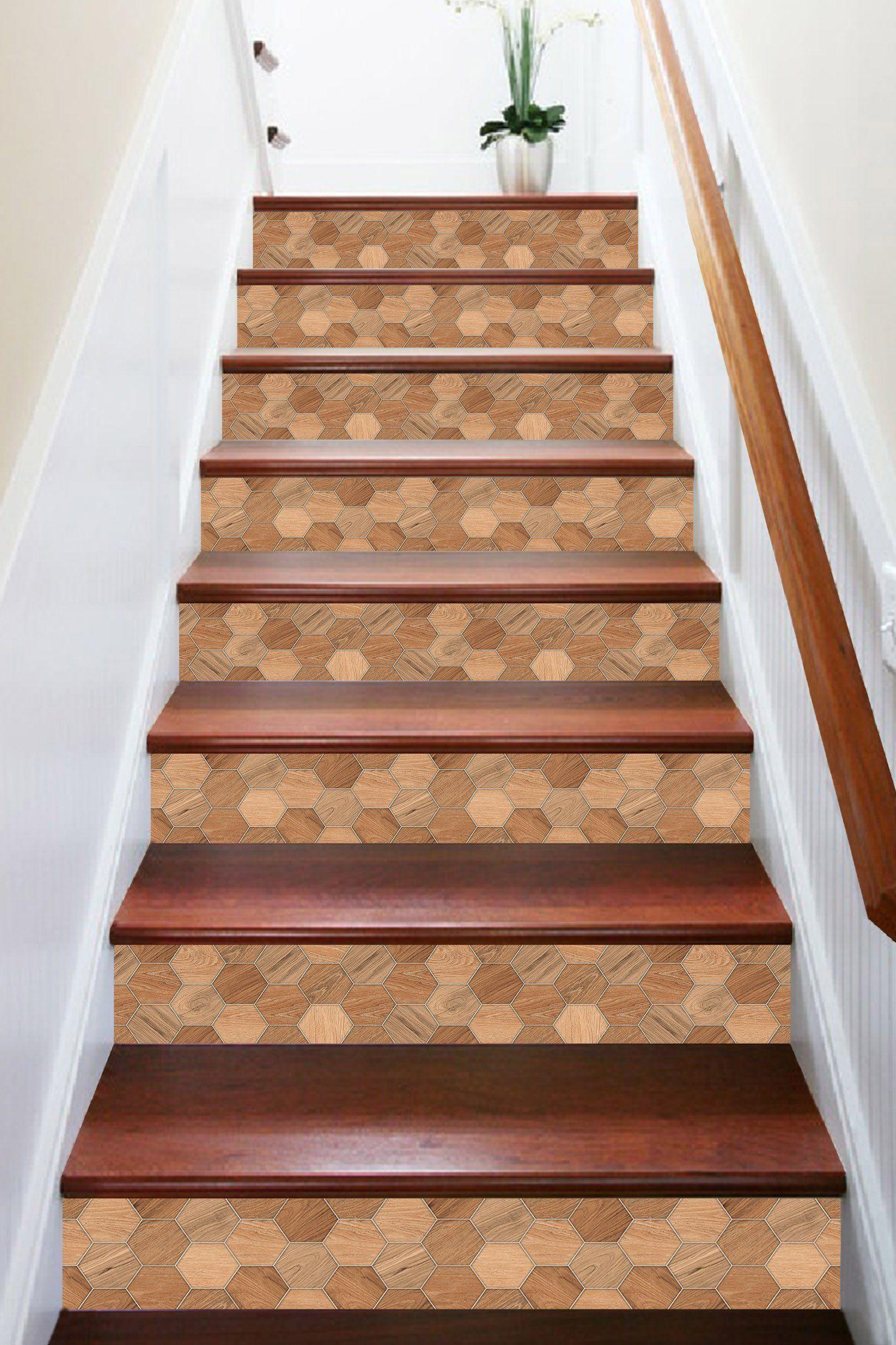 Best 3D Honeycomb Wood Grain 884 Marble Tile Texture Stair 400 x 300
