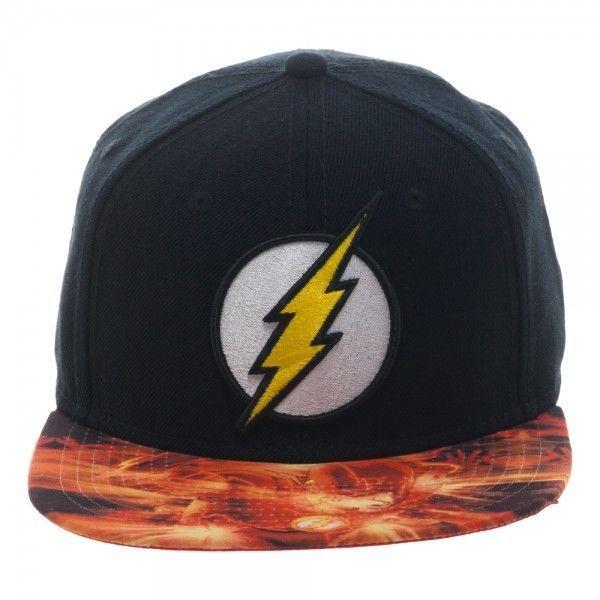 brand new 52ae7 a7372 DC Comics Flash Retro Black Snapback Hat  DCCOMICS  BaseballCap