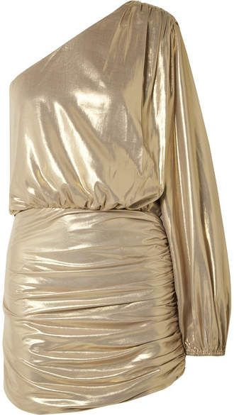 1f596a416051 Michelle Mason - One-shoulder Draped Lamé Mini Dress - Gold ...