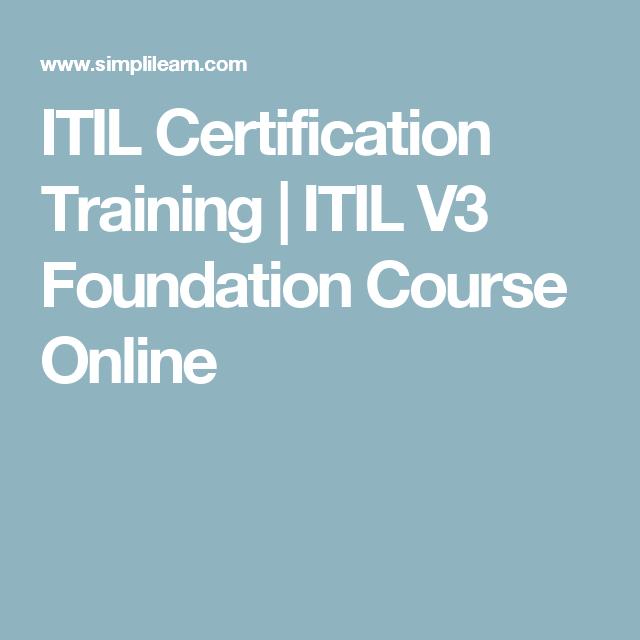 Itil Certification Training Itil V3 Foundation Course Online