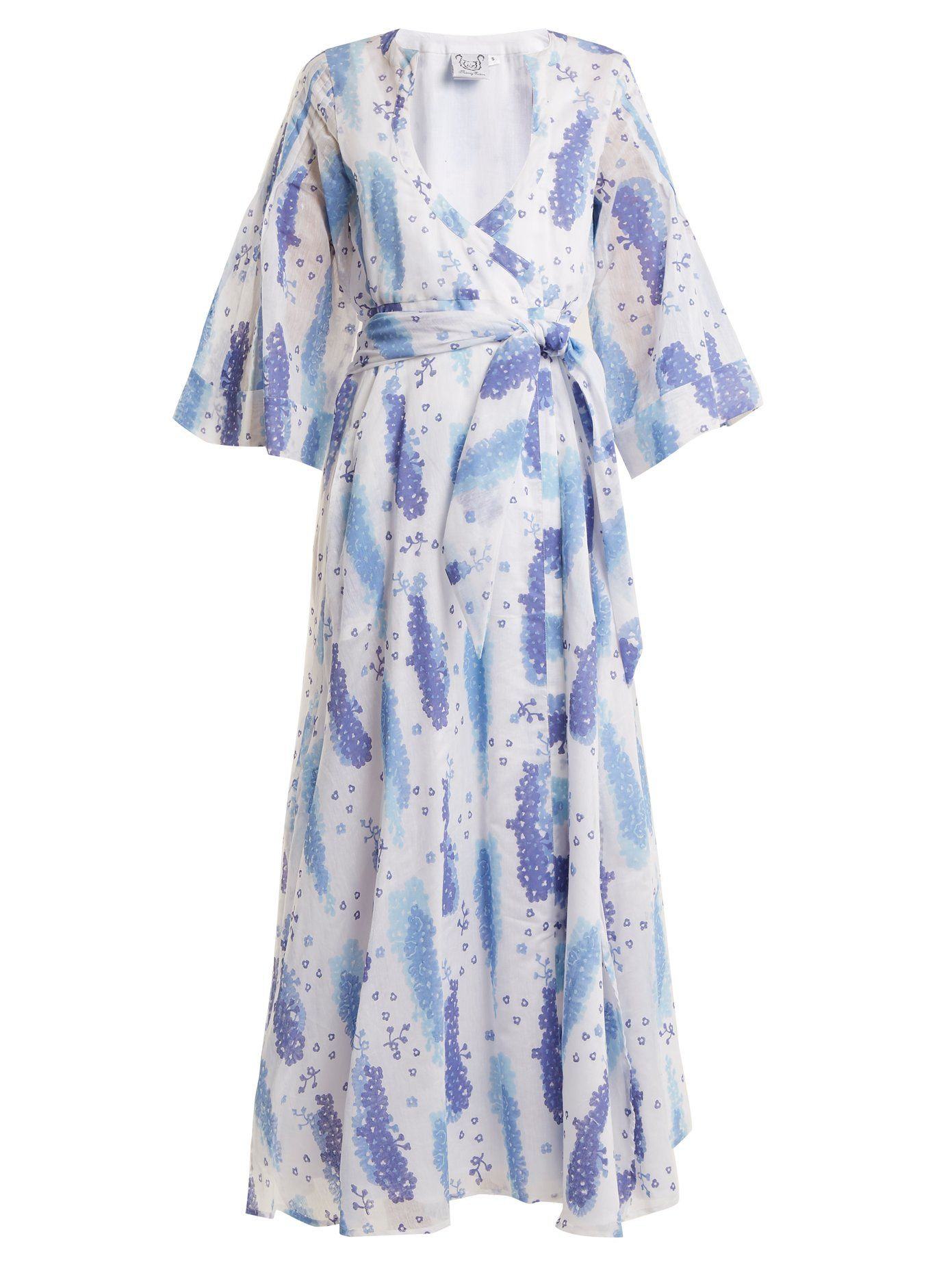 Sultane cotton and silk-blend wrap dress Thierry Colson Cheap Sale Wide Range Of Buy Cheap Latest LErTv16C