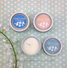 Personalised Round Candle Tins with Beach Wedding Sticker design