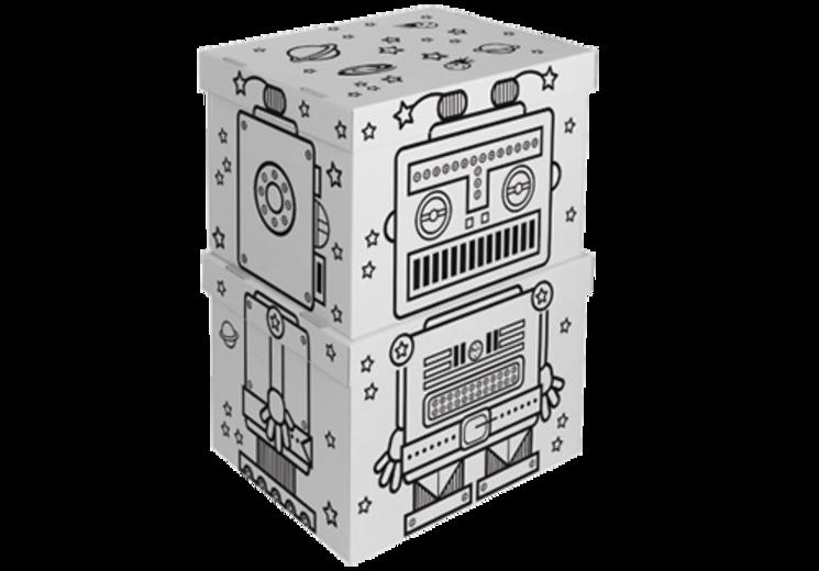 """Villa Carton Storage Boxen #Roboter.● Schöne, große #Aufbewahrungsboxen für kleine und große """"Schätze"""". ● Deckel und Boden einzeln. ● Mit vorgedruckten schwarzen Konturen. ● Übereinander gestellt wird aus den 2 Boxen ein #Roboter. ● Aufgestelltes Format: je 45 x 29 x 35 cm (BHT) ● #Wellpappe, #Karton, #Kreativ, #Spielen, #joyPac®, #Dinkhauser Kartonagen"""