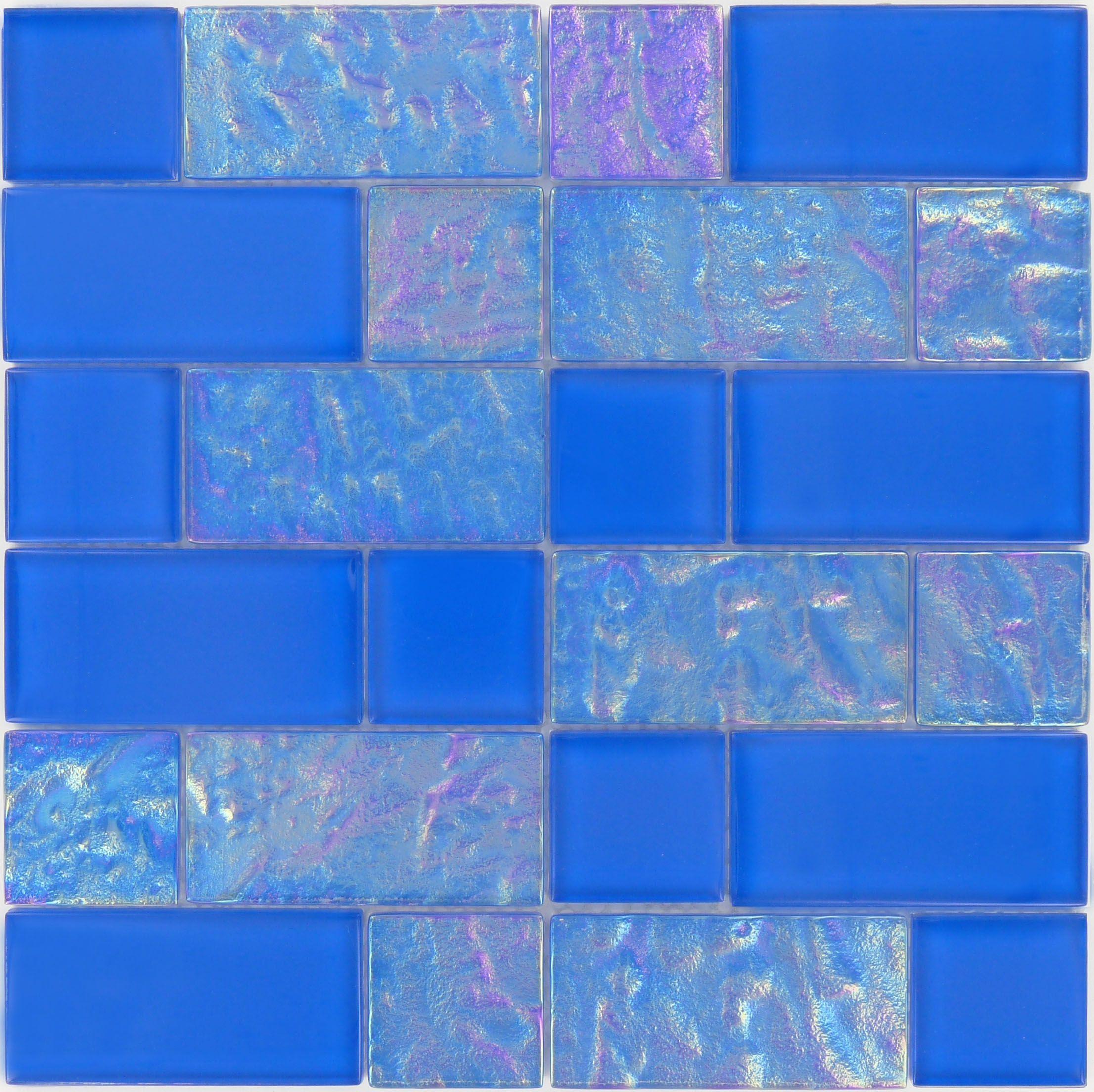 Royal Unique Shapes Blue Glossy & Iridescent Glass Tile Blue Unique ...