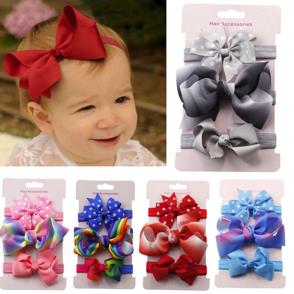 0.99 - 3Pcs Kids Baby Toddler Girl Bowknot Headband Hairband Headwear Hair  Accessories  ebay  Fashion dc79a12a657
