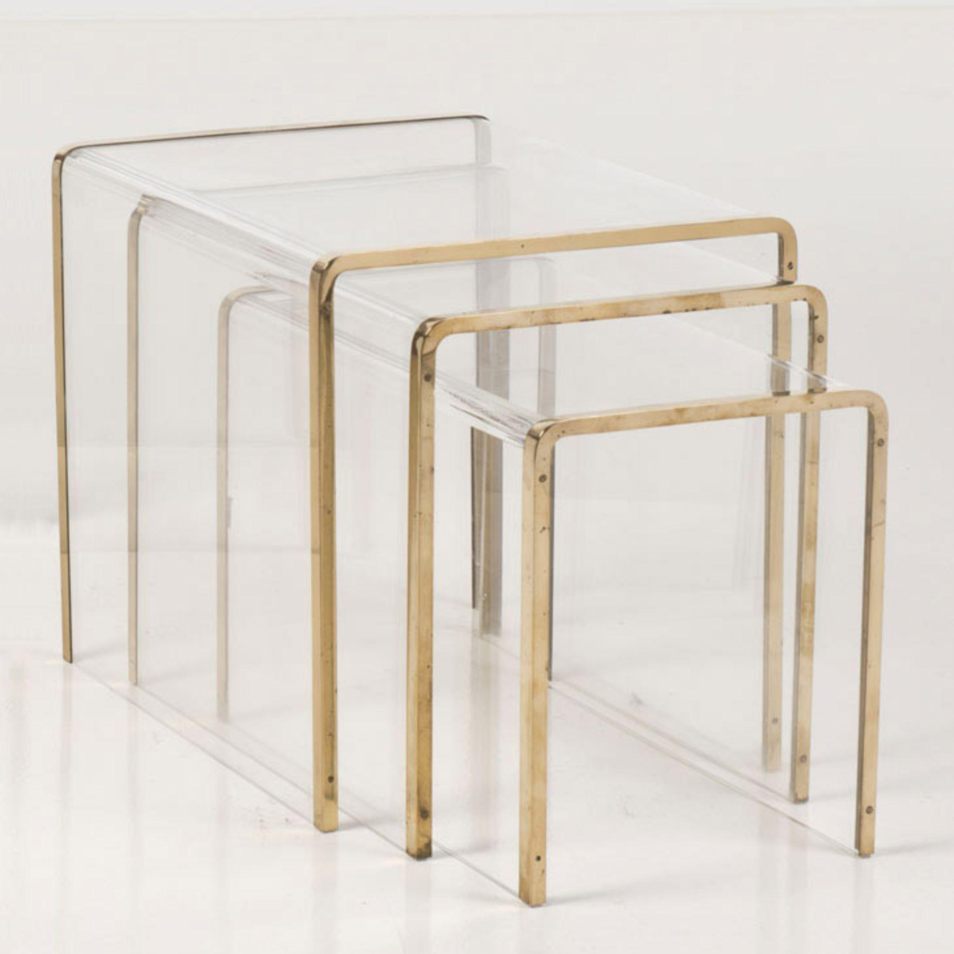 Gabriella crespi plexiglass and brass nesting tables - Table gigogne plexiglas ...