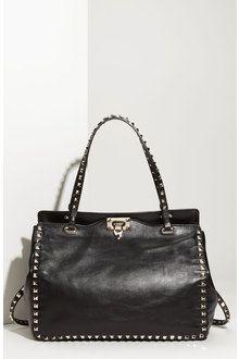 50c9c7144 Valentino Rock Stud Leather Handbag in Black | Lyst | Fashion | Bags ...
