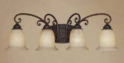 Photo of Designers Fountain 97504-BU Burnt Umber Four Light Down Lighting Bathroom Fixture from the Amherst Collection – LightingDirect.com