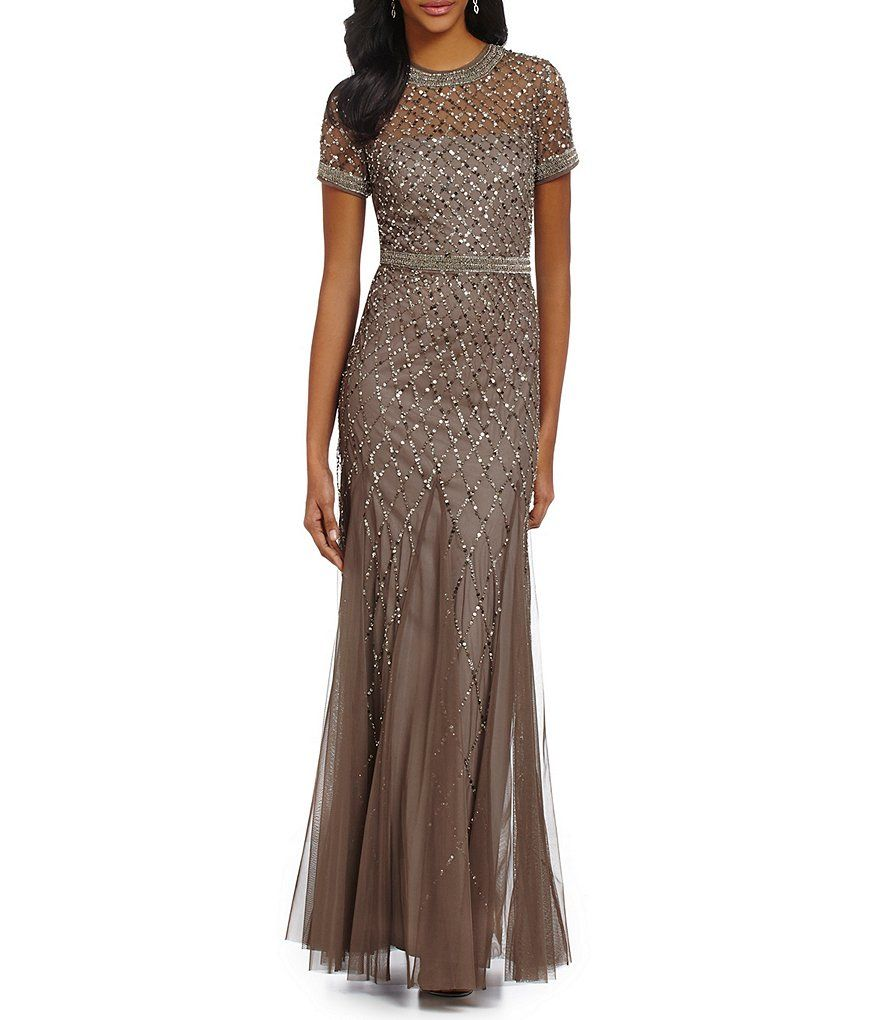 Petite dresses with sleeves for weddings  Adrianna Papell Petite Beaded CapSleeve Gown  Dillardus
