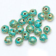 Metal Vintage Green and Gold Tube Bead Tibetan Silver Spacer Beads for Bracelet Jewelry Making H0426(China (Mainland))