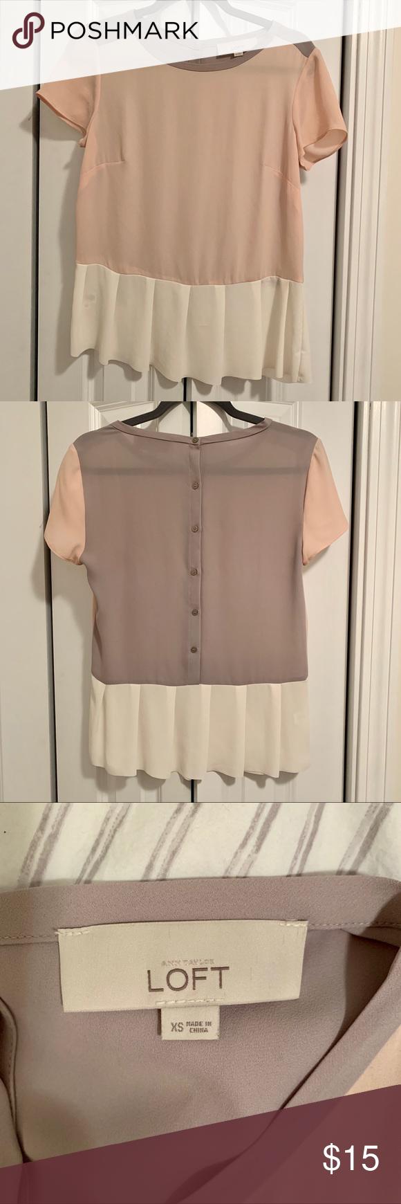 Loft Short Sleeve Pleated Blouse Beautiful short sleeve blouse from Loft Pale Loft Short Sleeve Pleated Blouse Beautiful short sleeve blouse from Loft Pale pink front war...