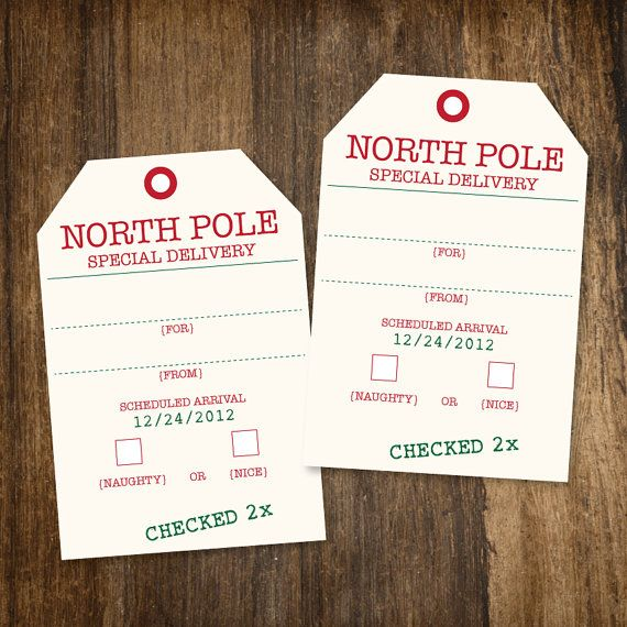 graphic regarding Free Printable North Pole Special Delivery Printable named Printable North Pole Distinctive Shipping Xmas Reward Tags