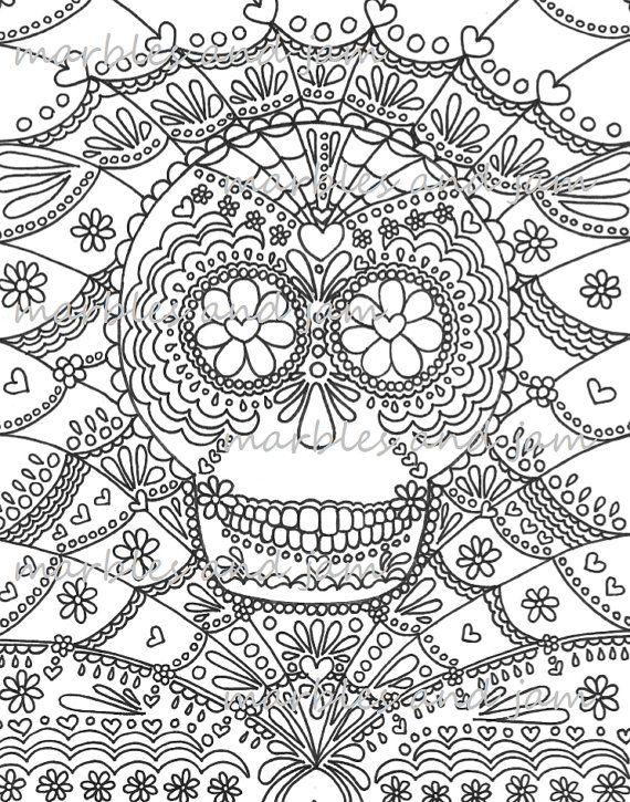 Day of the Dead Sugar Skulls printable adult coloring page, dia de ...