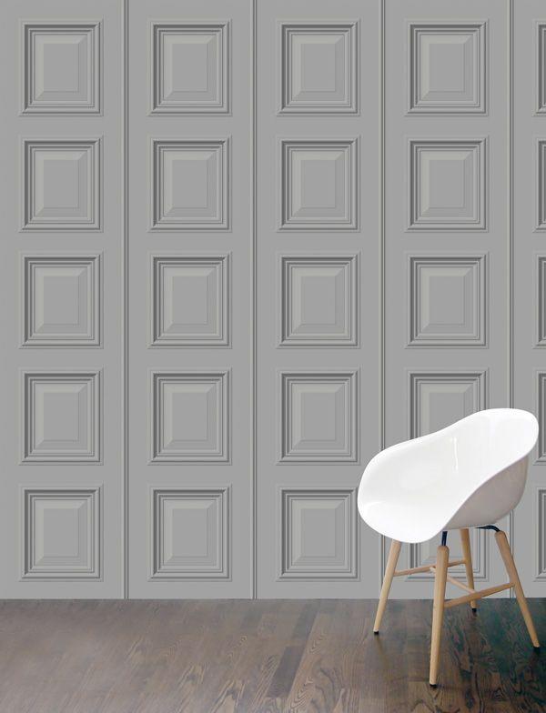 Benjamin Mini Panelling Wallpaper In Light Grey Featuring A