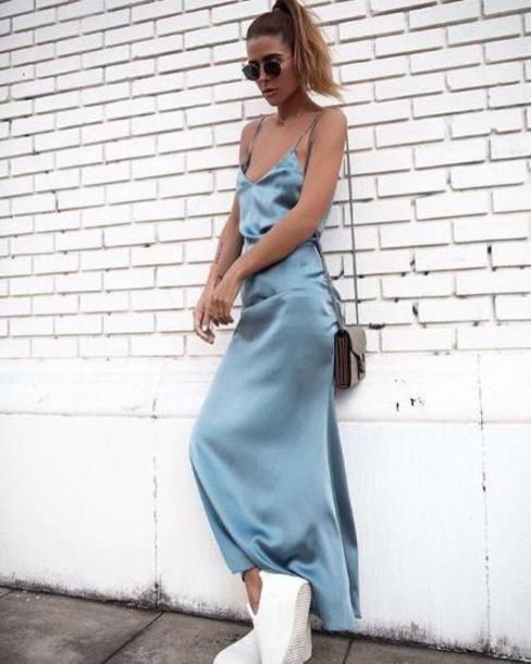 Dress Blue Blue Dress Maxi Dress Streetstyle Spring Outfits Blogger Silk Light Blue Sunglasses Fashion Prom Dresses Long Blue Silk Slip Dress