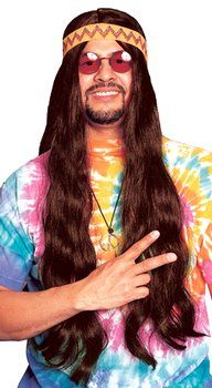 Long Brown Hippie Wig Hippie Costume Halloween Costume Accessories Black Hippy
