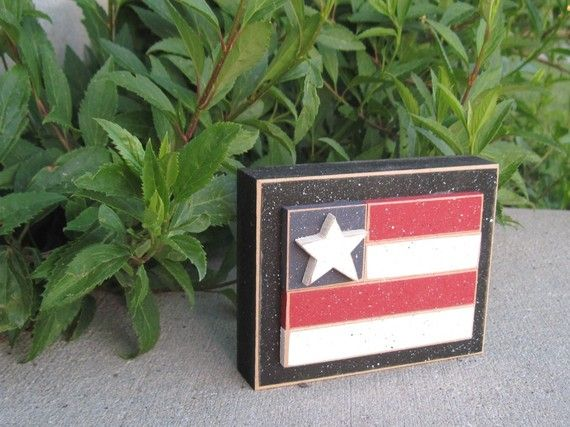 FLAG BLOCK for July 4th shelf desk office and by lisabees on Etsy, $9.95