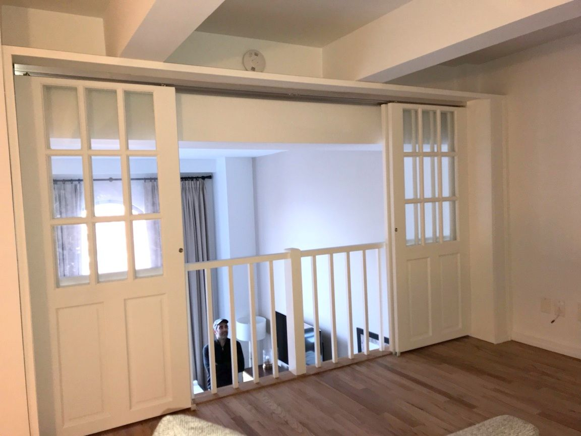 Custom Sliding French Door Partition To Close Off Loft Space Call Us For All Your Custom Room Partition And Storage Inquir Loft House Loft Railing Loft Spaces