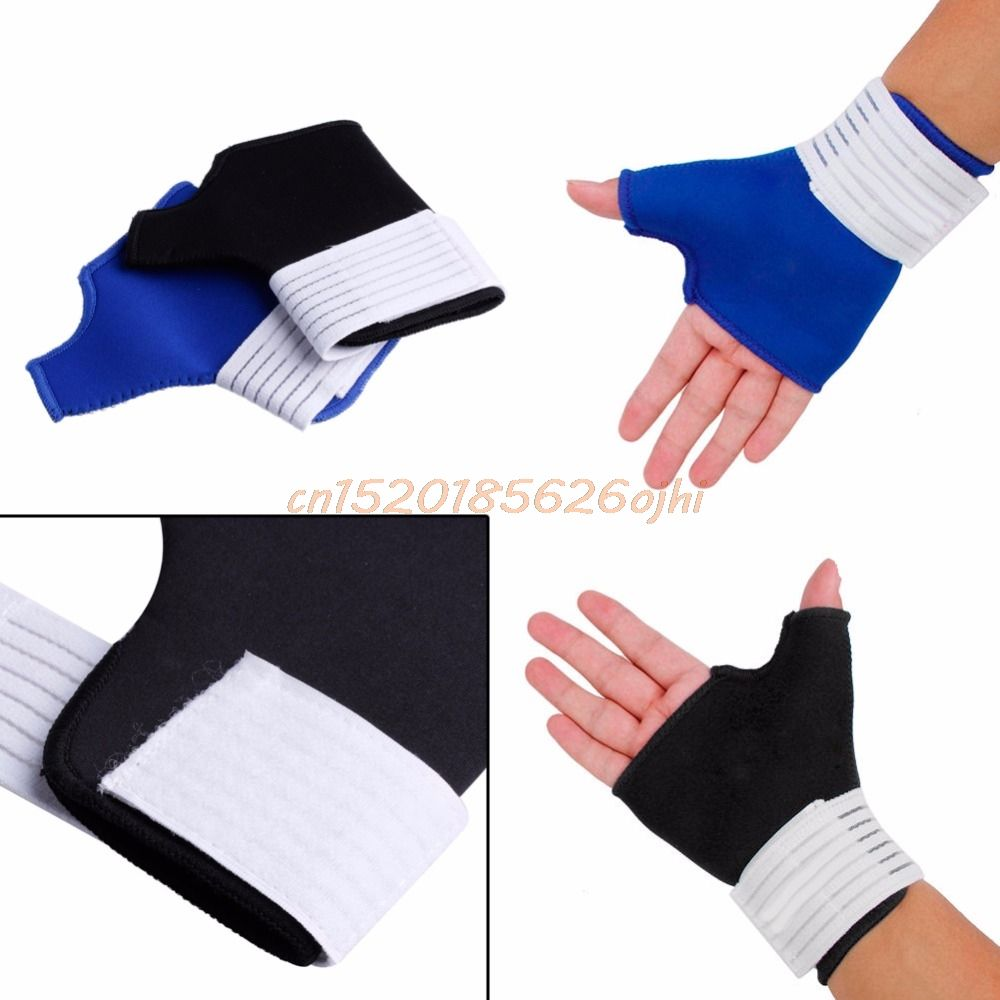 1 Pair Thumb Wrap Hand Palm Gloves Wrist Brace Support