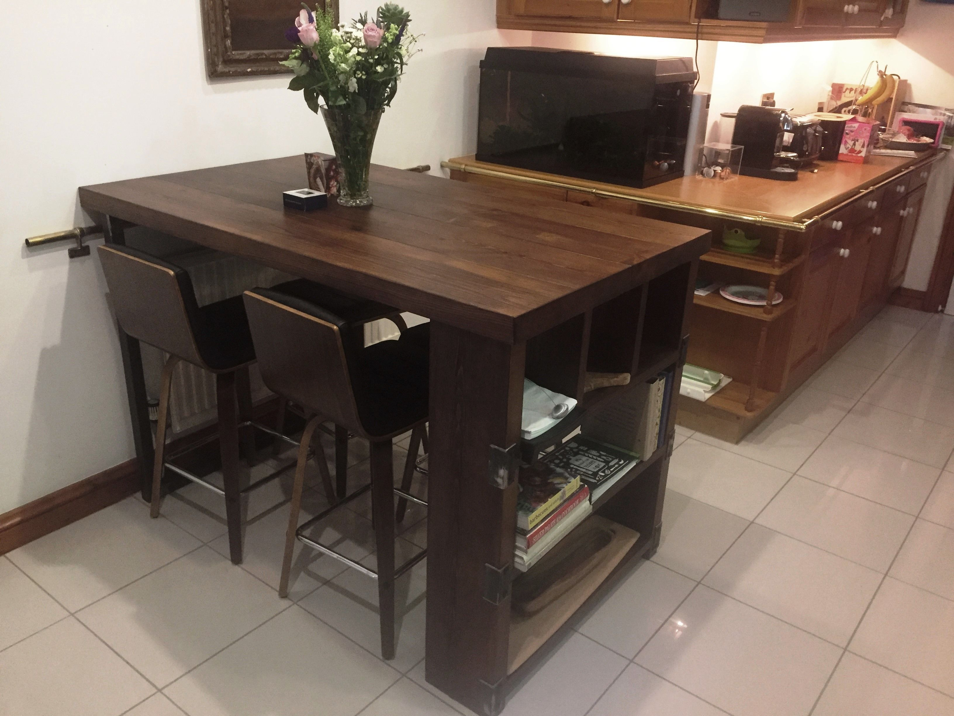 Industrial Style Solid Wood Kitchen Island Stained In Dark Oak