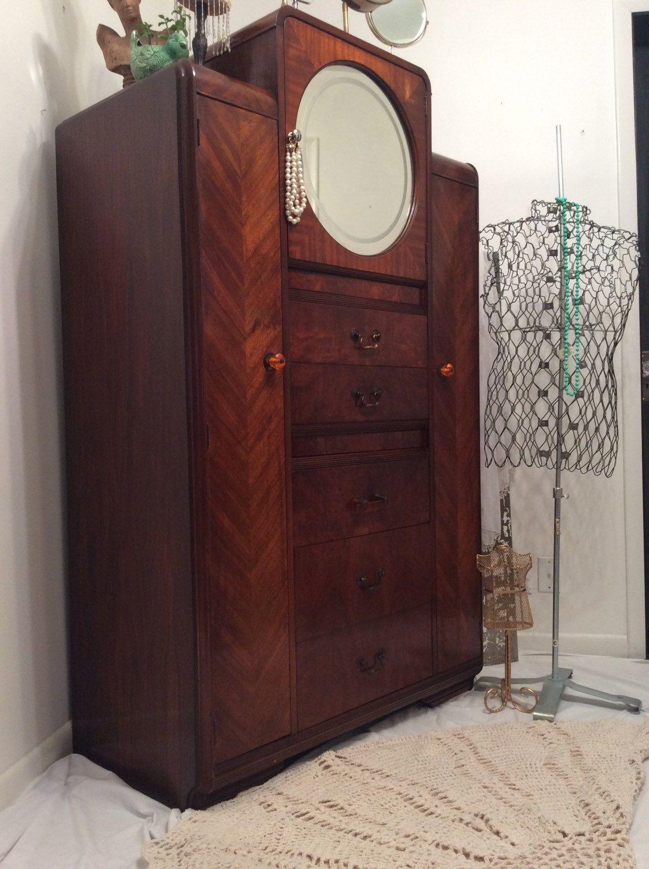 Art Deco Chifferobe Armoire Dresser Antique Round Mirror