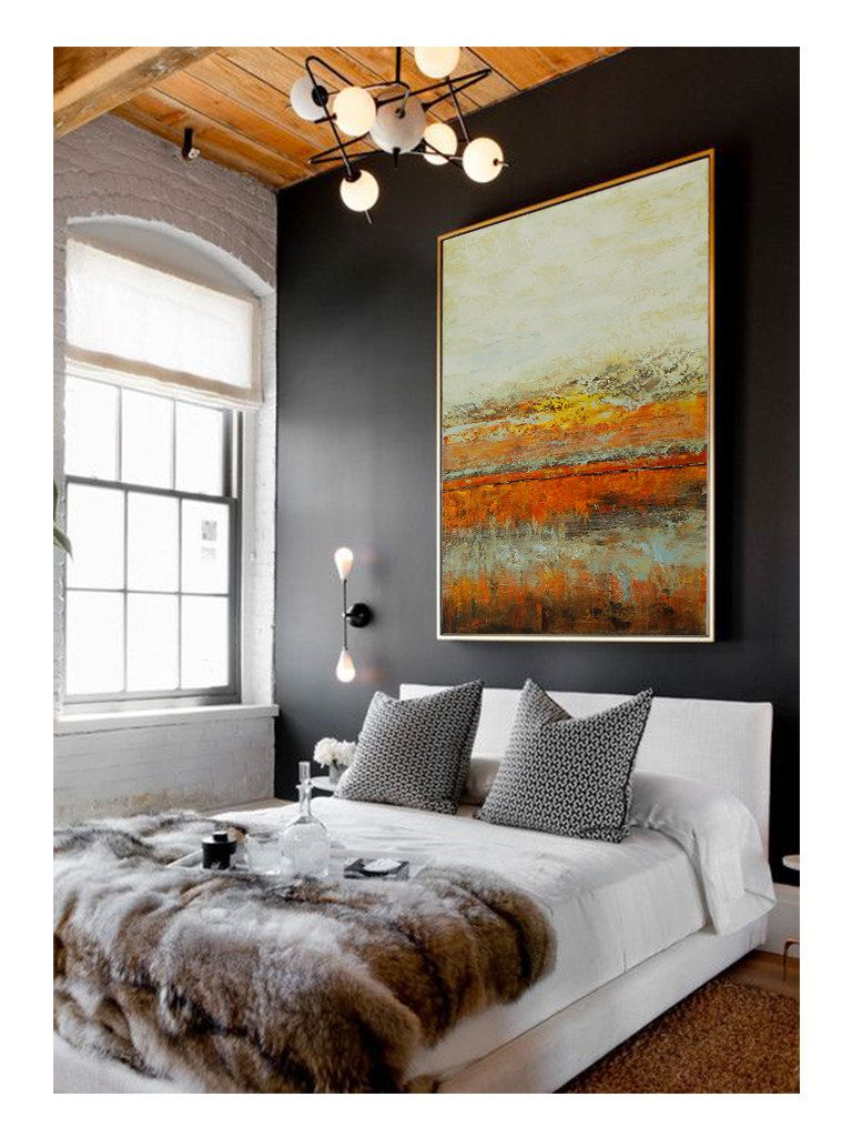 extra large abstract painting 48 x36 acrylic orange cream on modern acrylic paintings for living room id=88720
