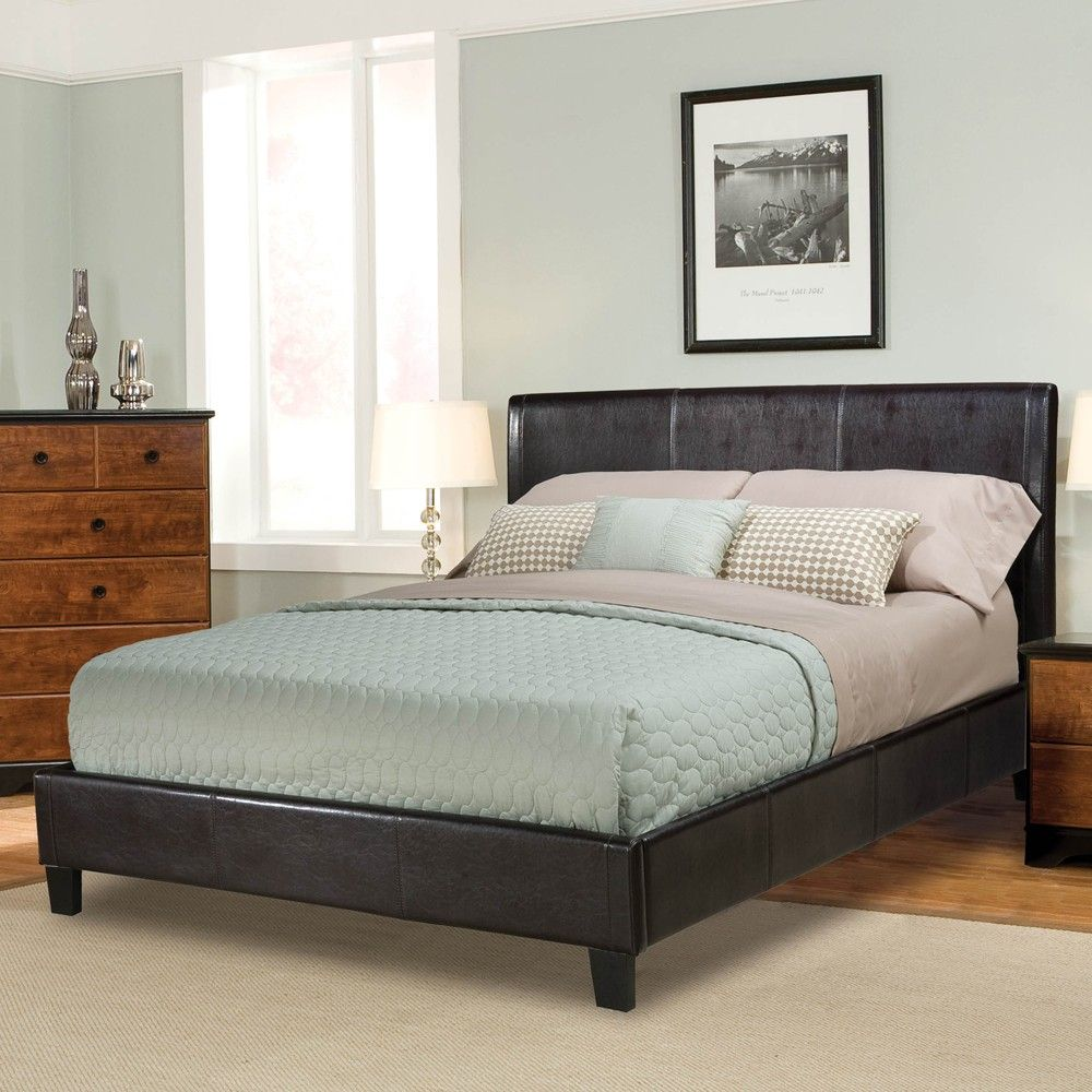 New York Faux Leather Upholstered Platform Bed in Brown by
