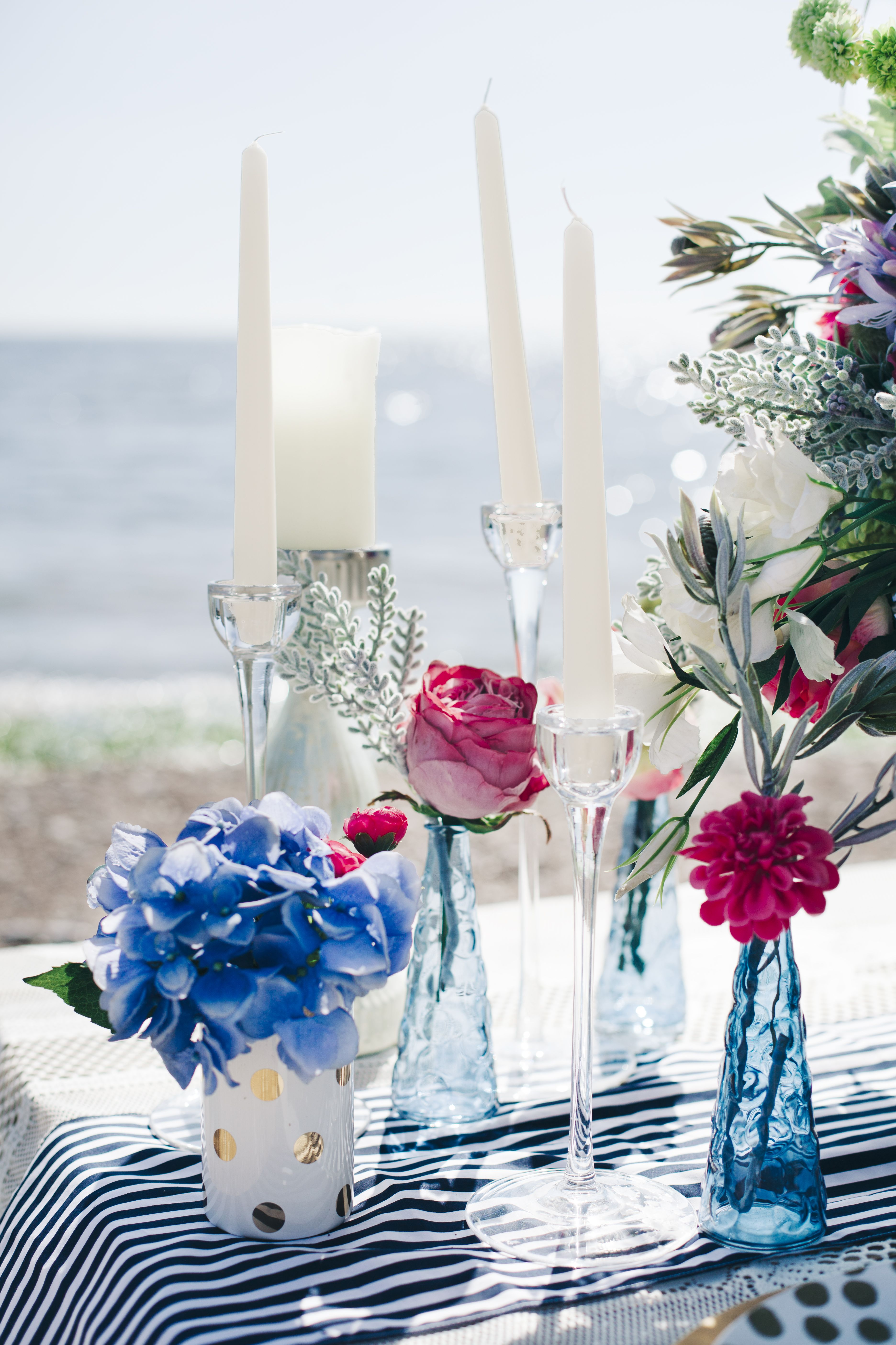 NAUTICAL Seaside wedding theme decor plates candles on the beach ...