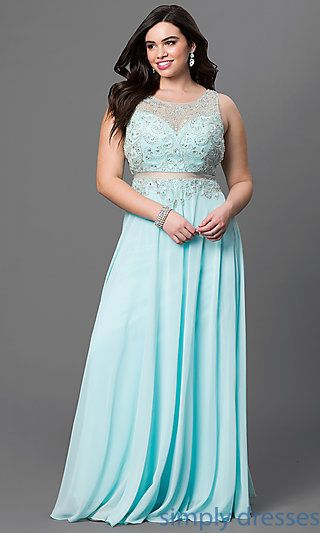 Long Plus Size Prom Dress With Sheer Waist And Back Pinterest