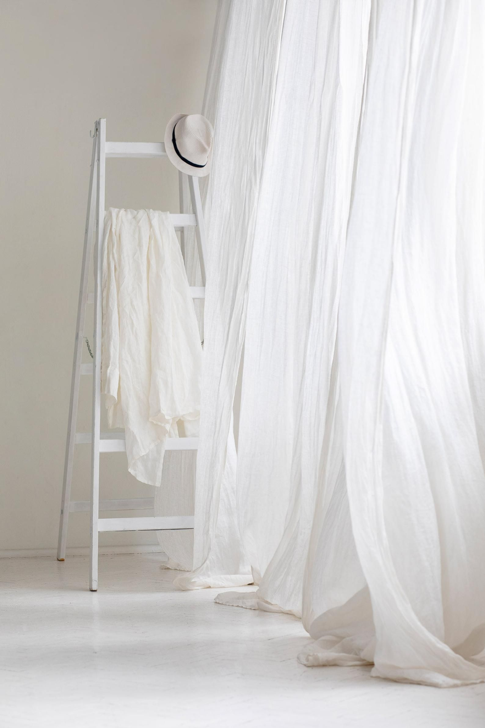 Linen Muslin Curtains Sheer Linen Drapes White Linen Curtain