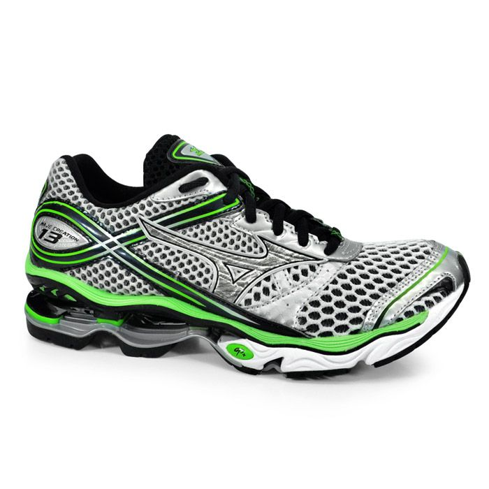 71568141c1 Tenis Running Masculino Mizuno Wave Creation 13 - 4123589-3669 - Prata Verde
