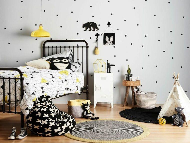 Pareti Cameretta A Pois : Cameretta arredata stile scandinavo pareti bianche pois interior